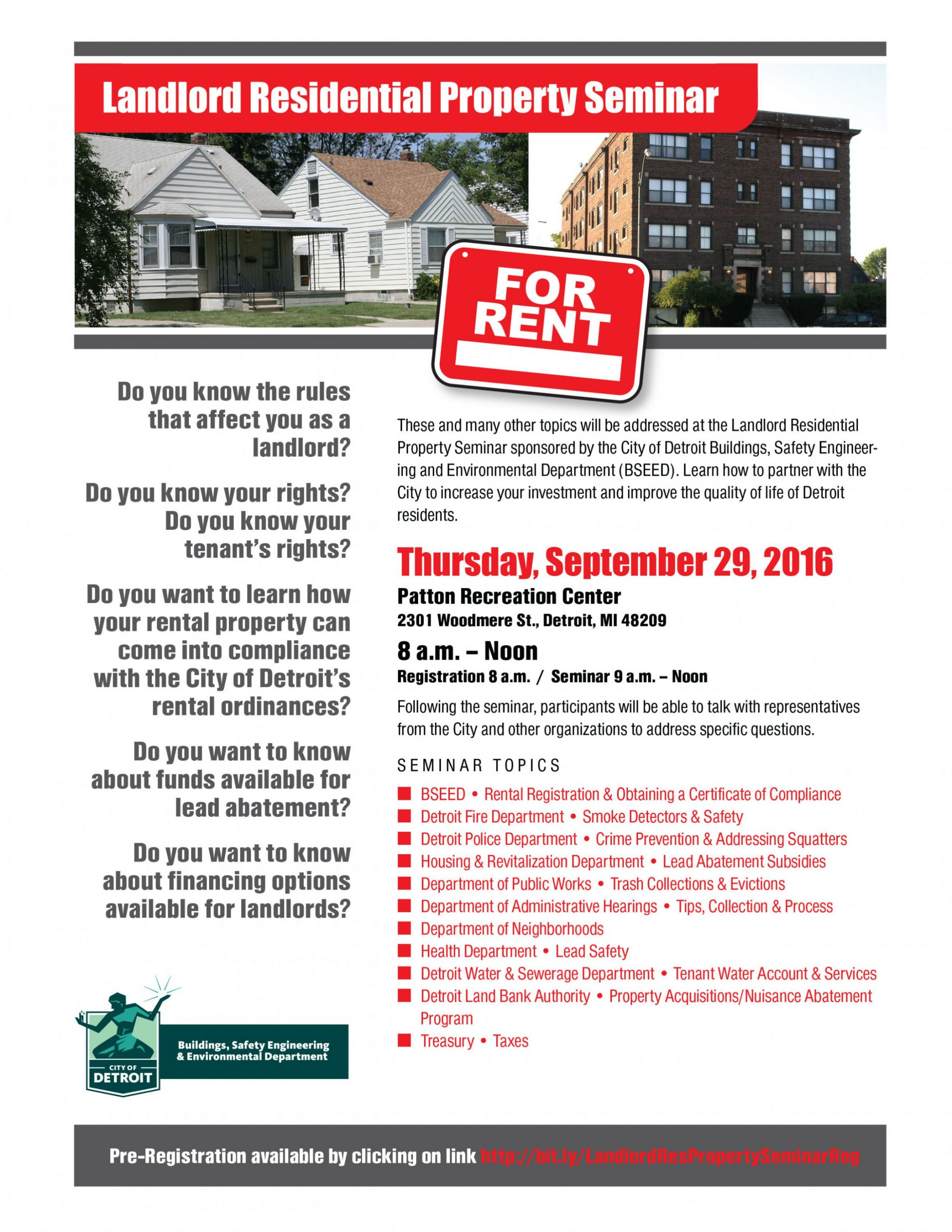 flyer for city of detroit landlord semiar