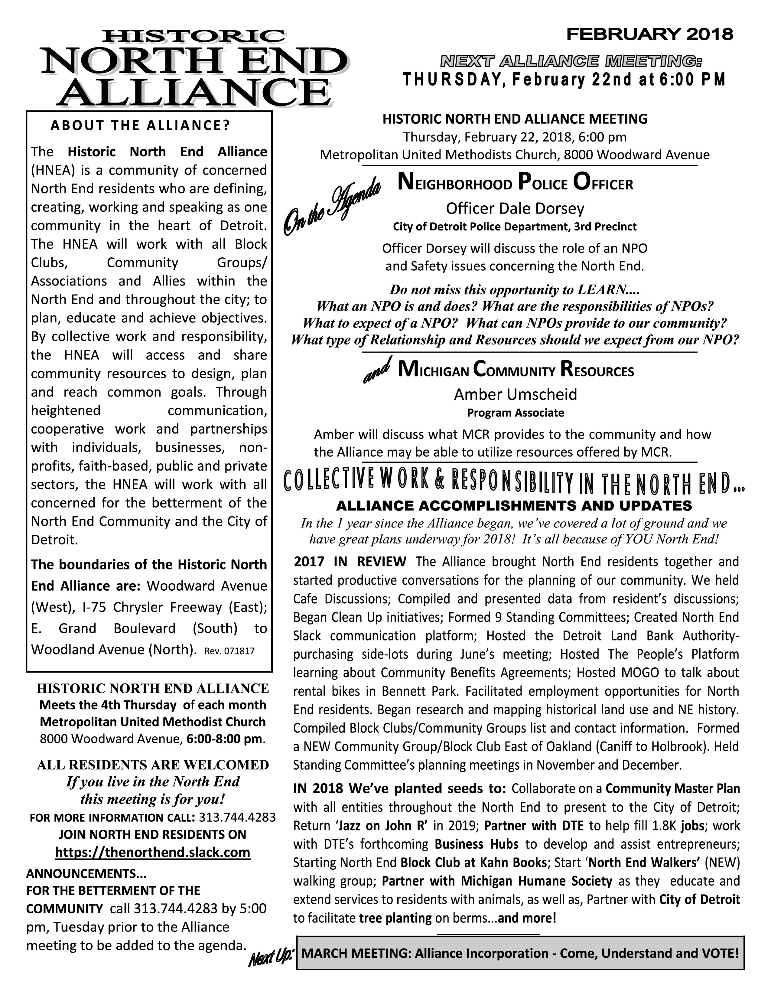 Historic North End Alliance Meeting Notice